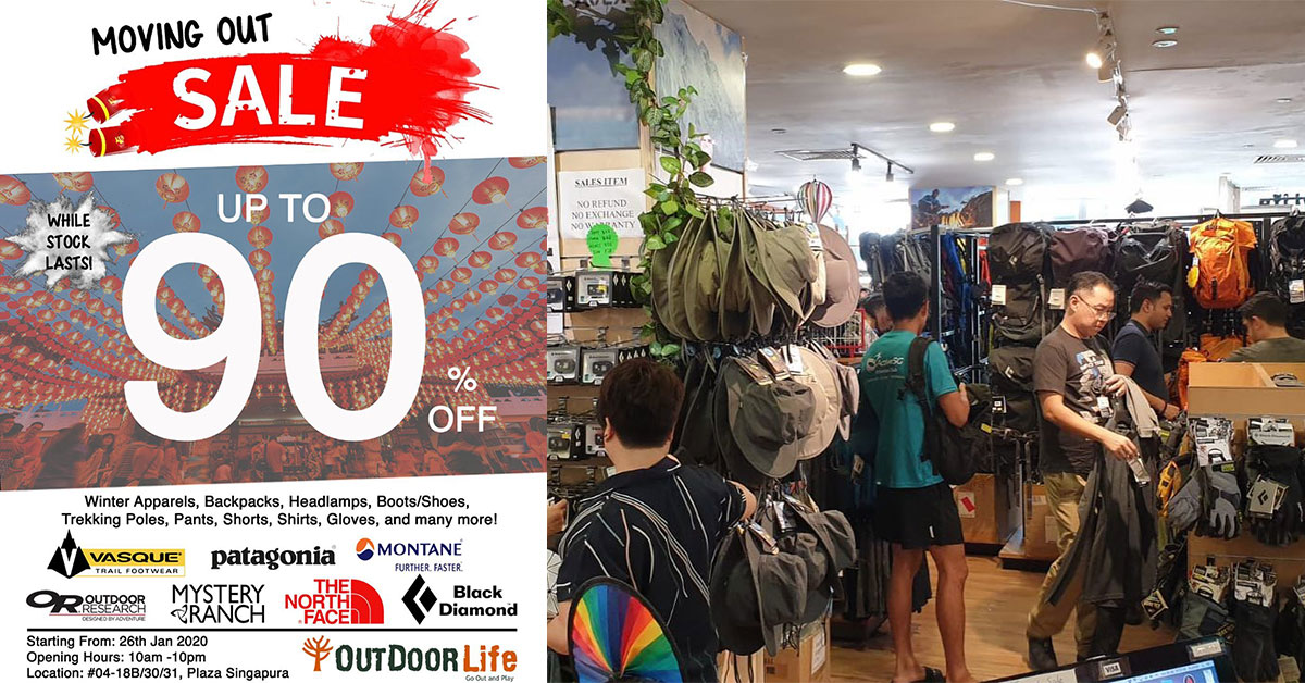 Outdoor Life moving out of Plaza Singapura, has 90% off on winter apparels, trekking gear & sporting goods
