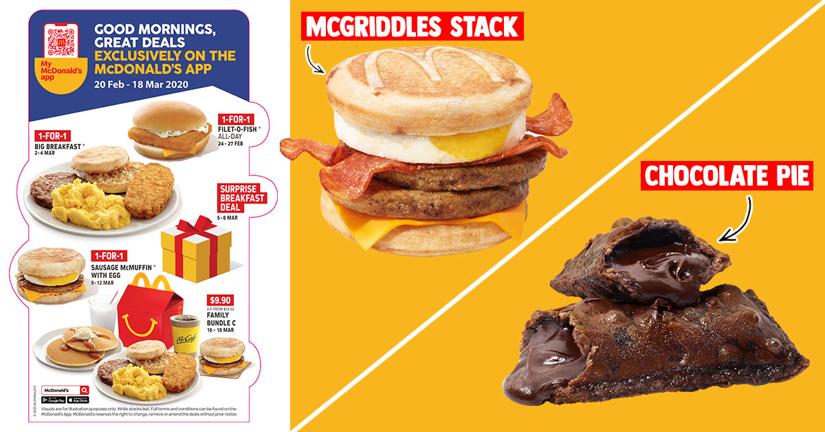 McDonald's S'pore brings back Sausage McGriddles, Chocolate Pie and new 1-for-1 Deals from Feb 17