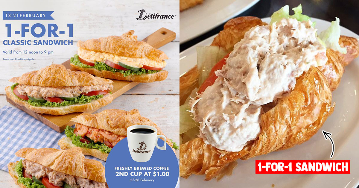 Delifrance S'pore will be offering 1-for-1 Classic Sandwich 12pm onwards from Feb 18 – 21 this week