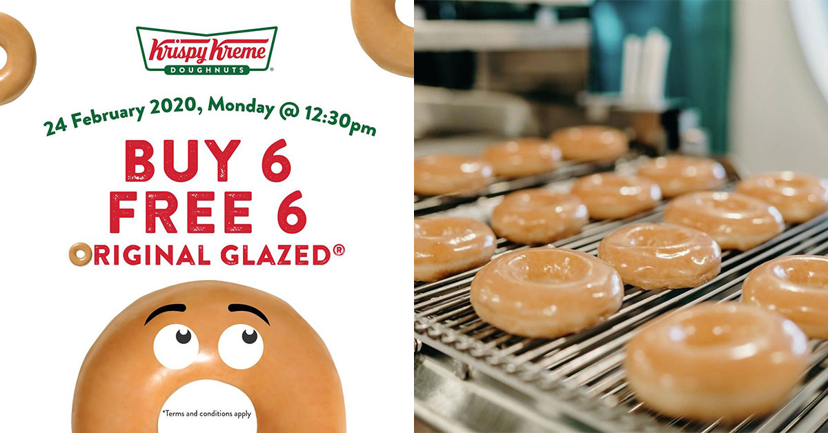 Krispy Kreme to offer Buy 6 Free 6 Original Glazed Doughnuts on Feb 24 at 5 outlets in S'pore