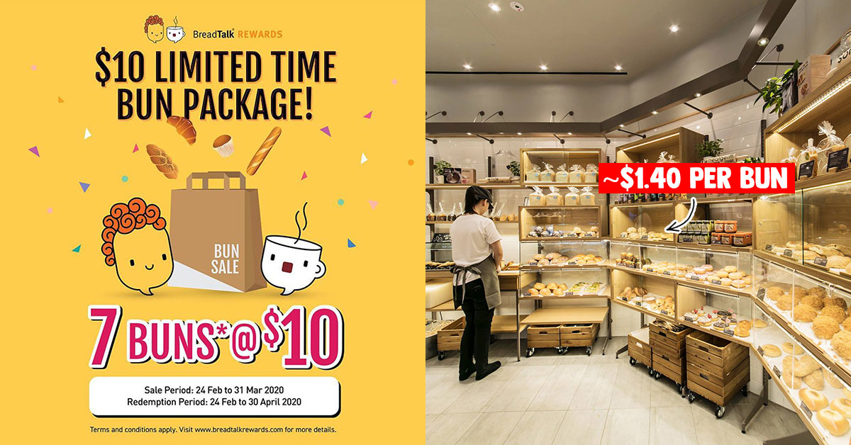 BreadTalk lets you buy 7 Buns for S$10 Voucher in-store or via mobile app valid for use till Apr 30