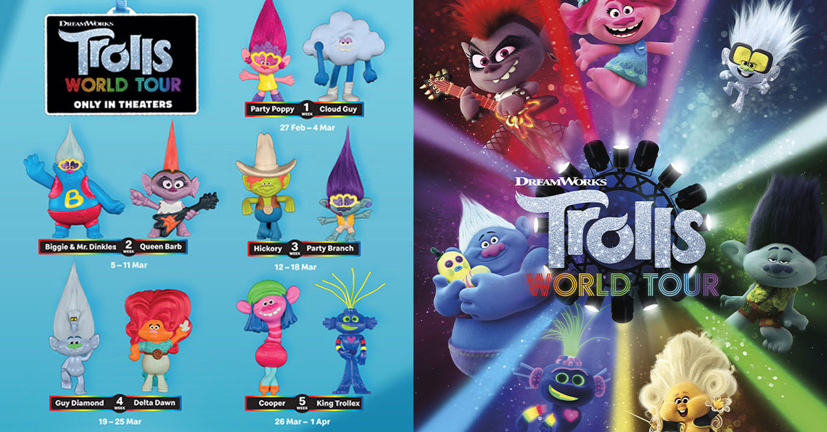 Trolls World Tour Happy Meal Toys available at McDonald's S'pore from Feb 27 – Apr 1