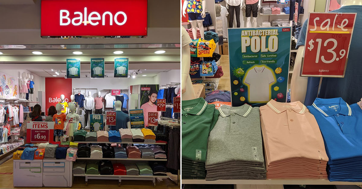 Baleno has Antibacterial Polo T-Shirts for $13.90 each available at all stores in S'pore