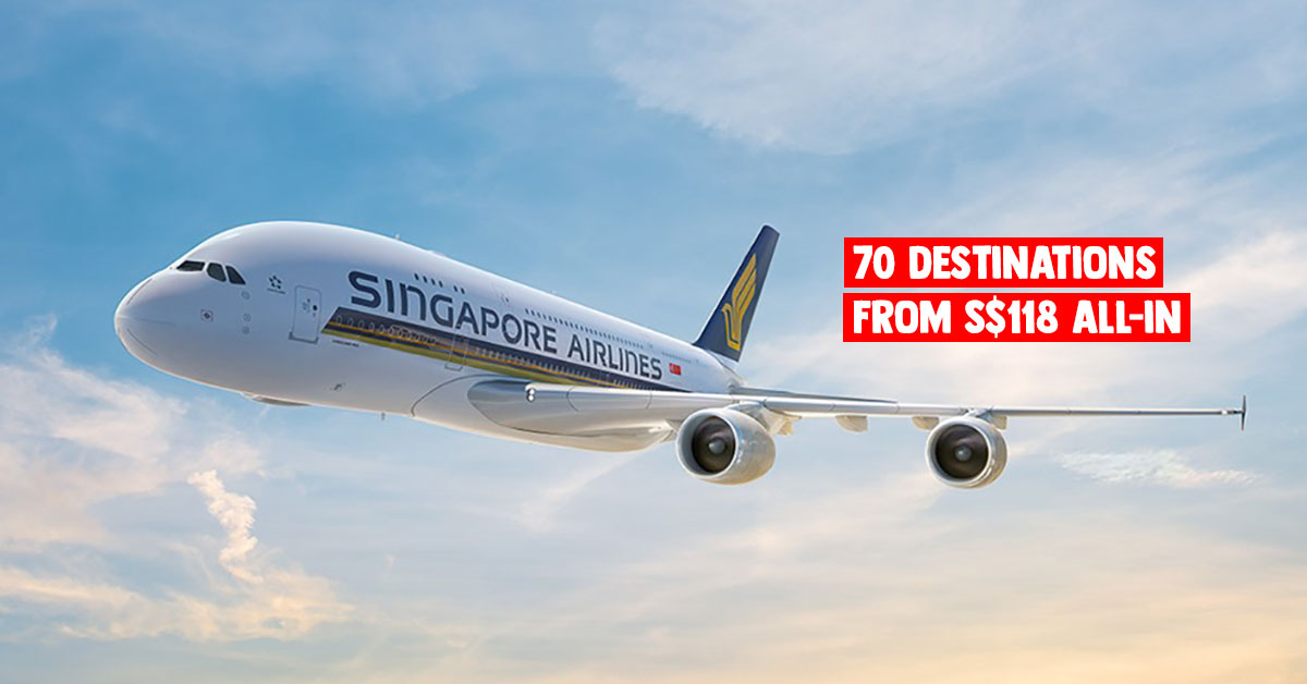 Singapore Airlines & SilkAir offering at least 20% off fares worldwide from $118 all-in till Mar 19