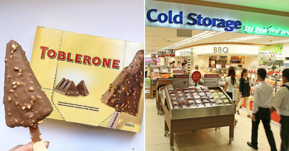 Triangle-shaped Toblerone Ice Cream Sticks available in Cold Storage for S$7.95 per box of 4
