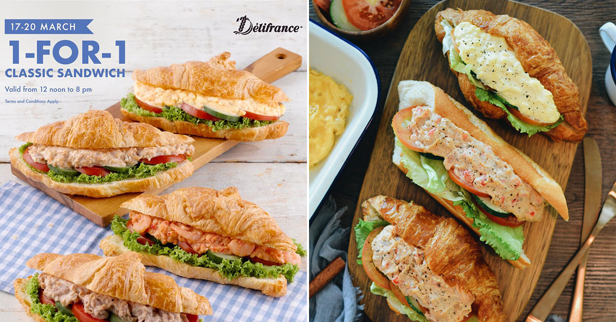 Delifrance having 1-for-1 Croissant Sandwiches Promotion from Mar 17 – 20 at all outlets in S'pore