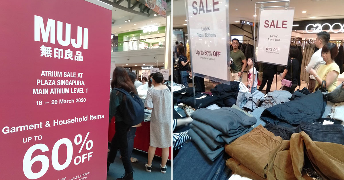 MUJI Atrium Sale happening at Plaza Singapura till Mar 29, has clothing & household items up to 60% off