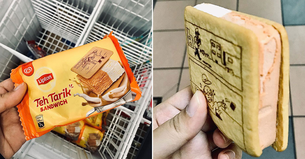 Lipton Teh Tarik Sandwich ice cream available at 7-Eleven stores in S'pore for $1 each