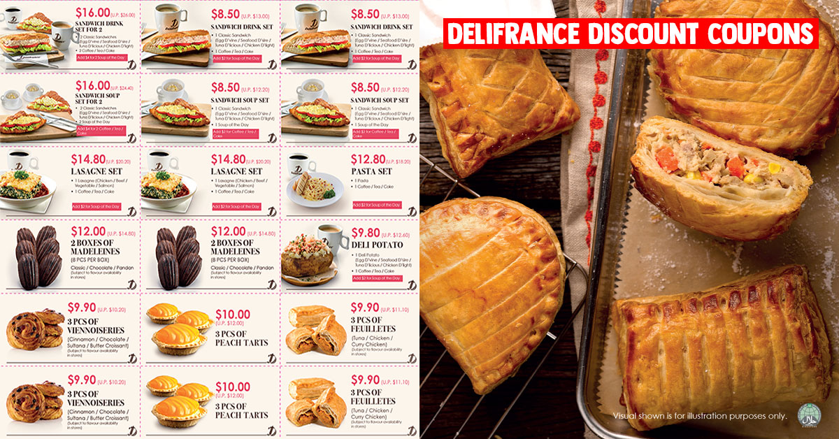 Delifrance S'pore Discount Coupons valid till Jun 30 include Sandwich & Lasagne Sets, Madeleines, Tarts & more