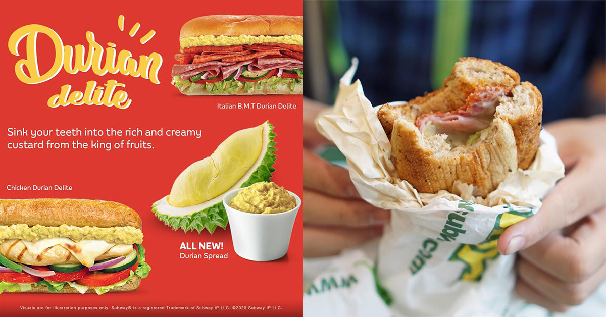 Subway S'pore introduces new 'Durian Delite Sandwiches', has custard spread made with real durian flesh