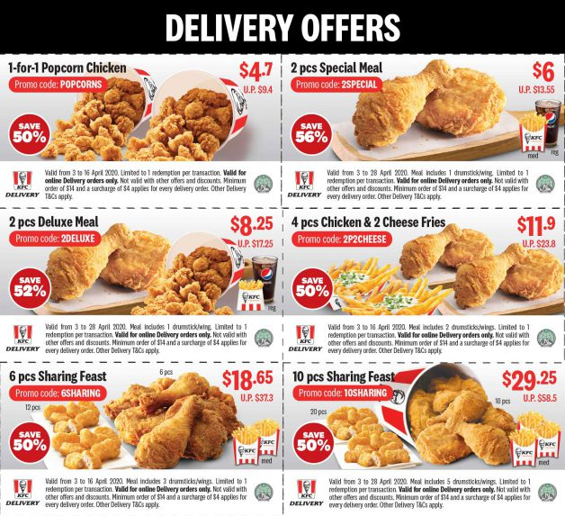 Kfc S Pore Takeaway Delivery Deals This April Include 2 95 Chicken Box And Lots Of 1 For 1 Promotions Great Deals Singapore