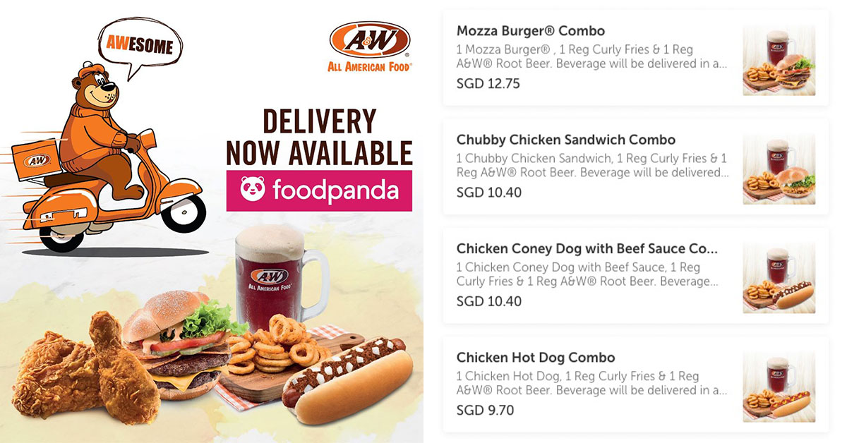 A&W Restaurant now delivers Burgers, Coney Dogs, Root Beer Float & more via FoodPanda