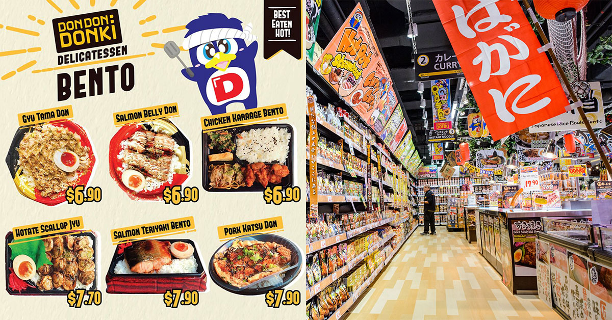Don Don Donki now selling Japanese Bentos from $6.90 including Salmon Belly, Chicken Karaage & more