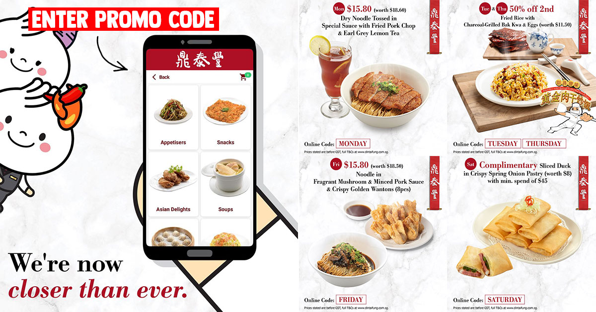 Din Tai Fung now lets you order online, has Daily Promo Codes for discounts on takeaway food items