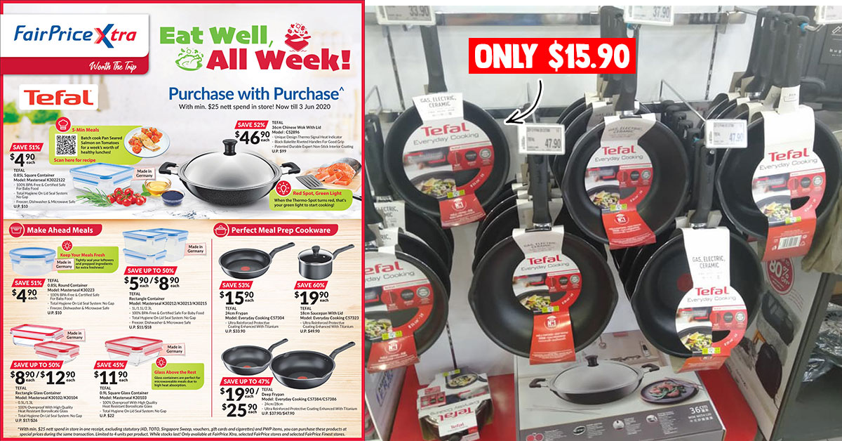 FairPrice Xtra has Tefal Cookware Purchase-with-Purchase Promotion from $4.90 till June 3