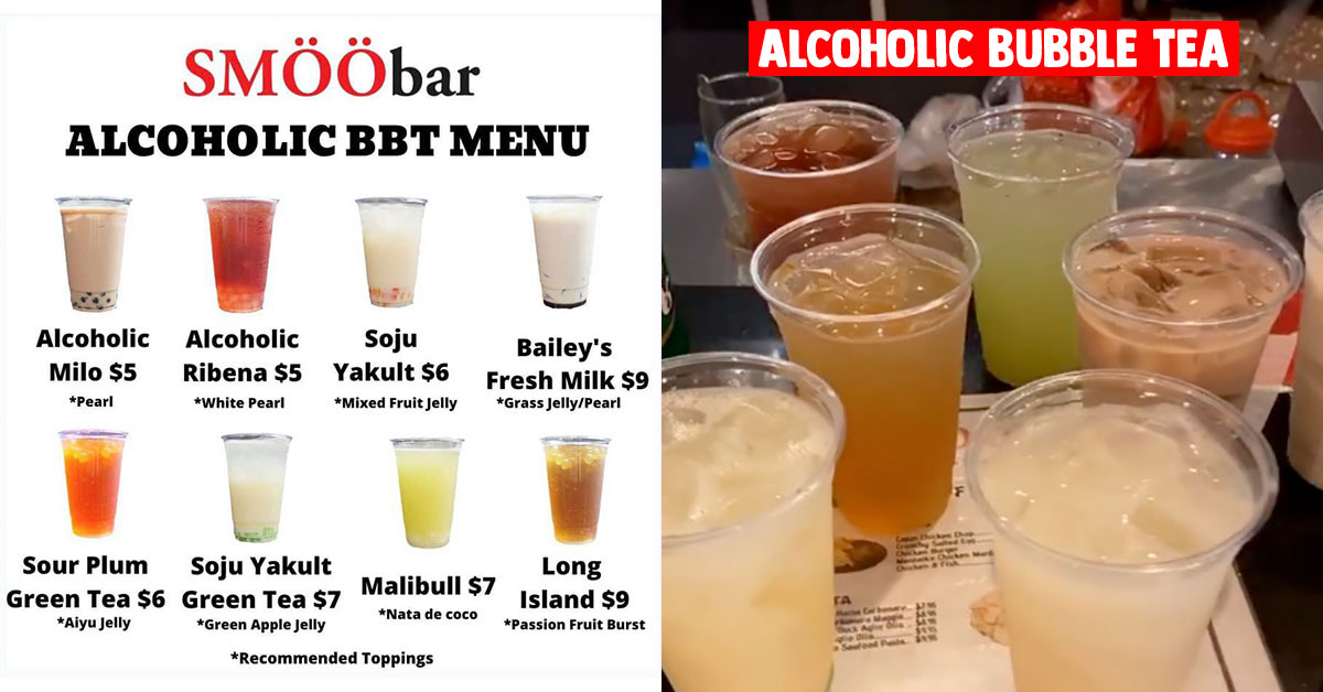 SMÖÖbar just launched its Alcoholic Bubble Tea from $5 that has Bailey's, Soju & more in them