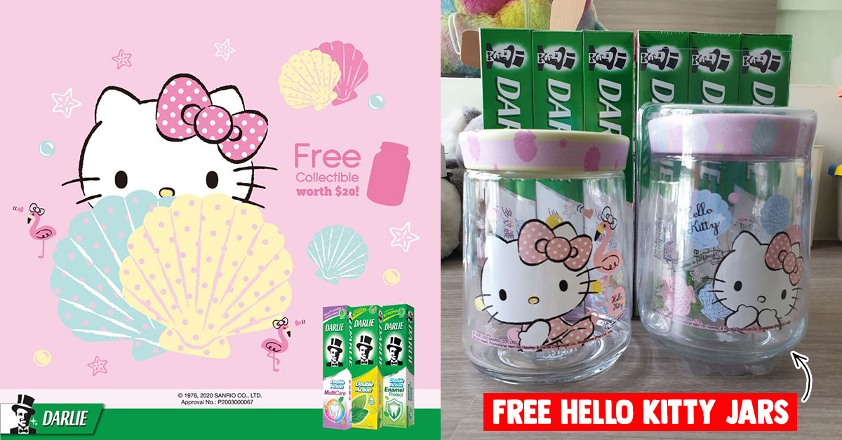 Redeem FREE Hello Kitty Glass Jars when you buy Darlie toothpastes at most supermarkets this June