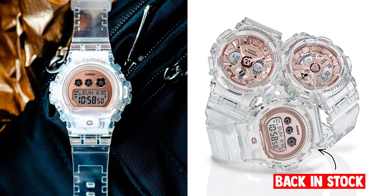 Transparent Rose Gold G-Shock GMD-S6900SR back in stock online for S$139