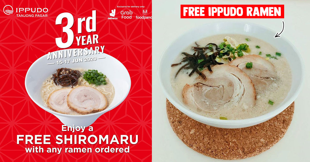 IPPUDO S'pore now having 1-for-1 Ramen Promotion till Jun 17 via GrabFood, Deliveroo & FoodPanda