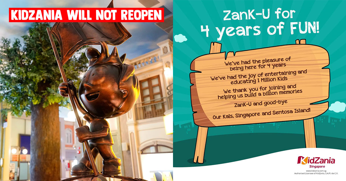 "KidZania S'pore closes down and will not reopen, says ""ZanK-U and good-bye"" to supporters"