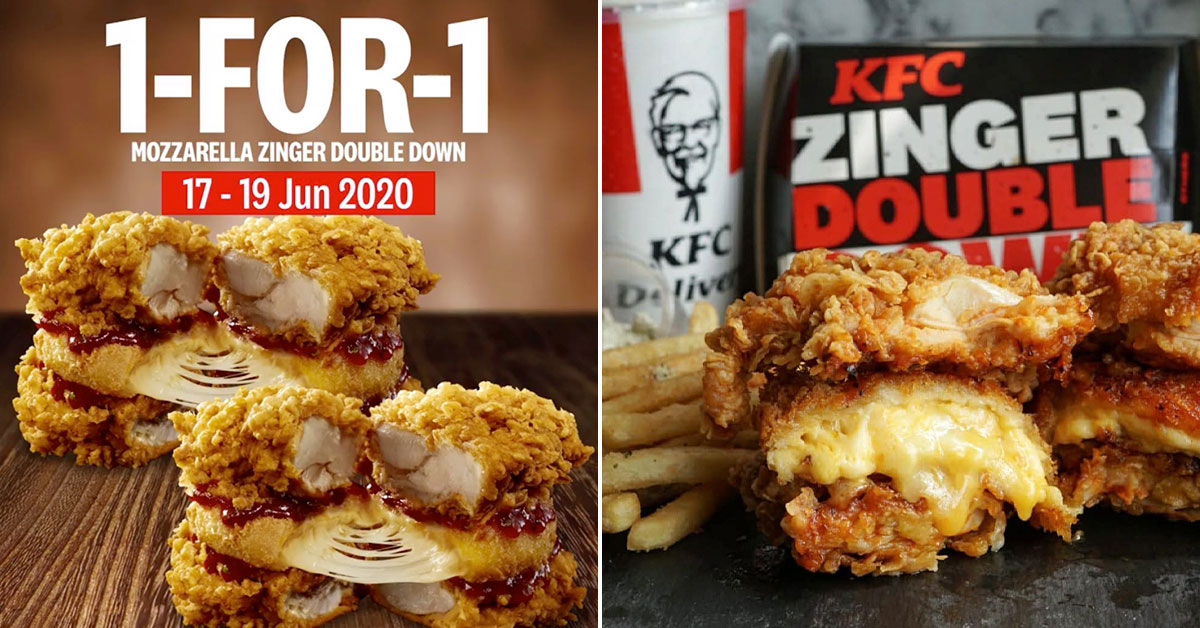 KFC S'pore having 1-for-1 Promotion on Mozzarella Zinger Double Down all-meat burger till Jun 19