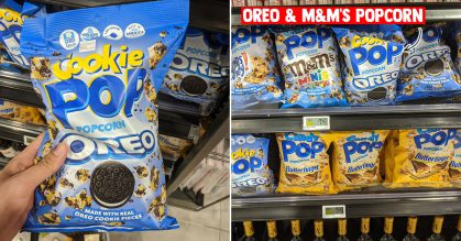 Made-in-USA Oreo and M&M's Popcorn Snacks spotted at FairPrice supermarkets for $7.50 per bag