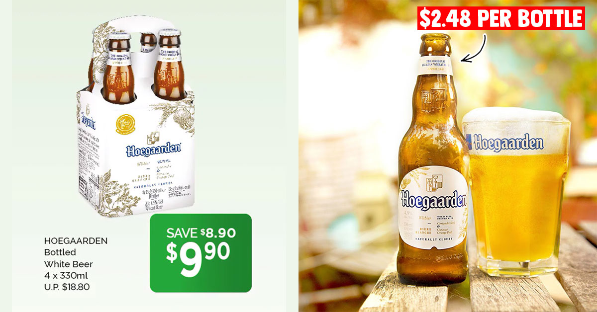 Cold Storage offer on Hoegaarden White Beer till Jul 9 means you pay less than $2.50 per bottle