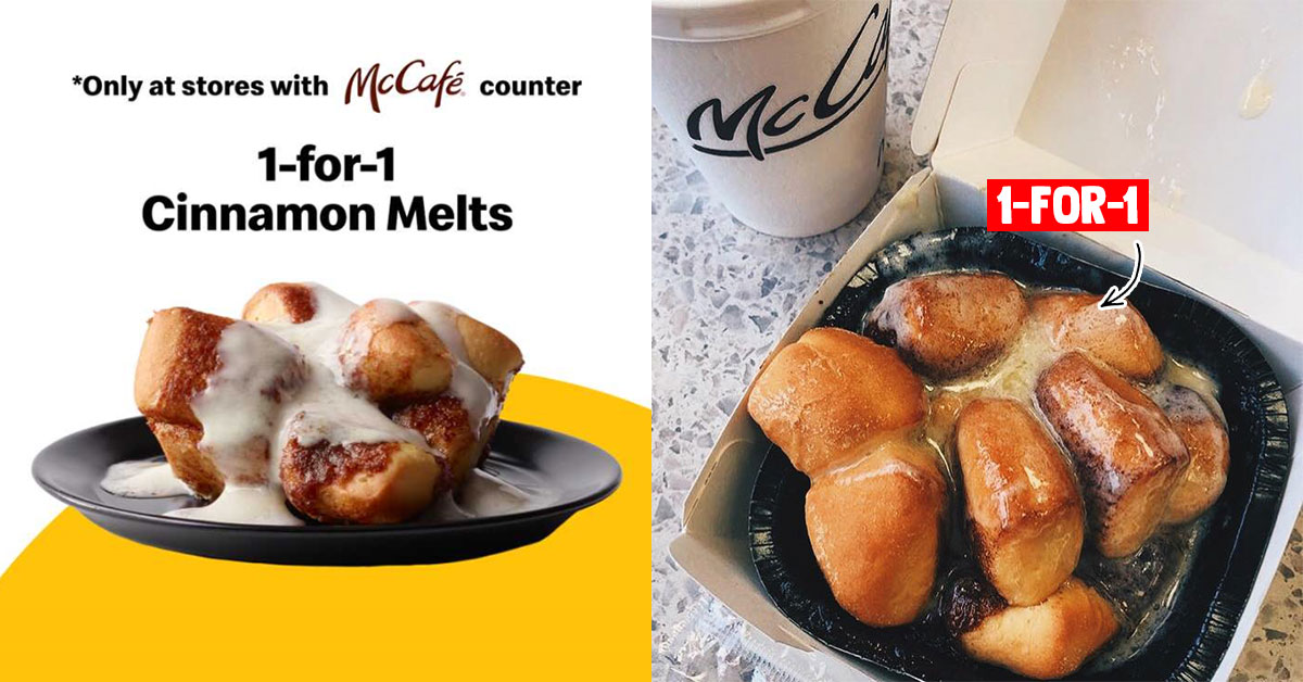 McDonald's App has 1-for-1 Cinnamon Melts Deal till Jul 22, redeemable at McCafé counters