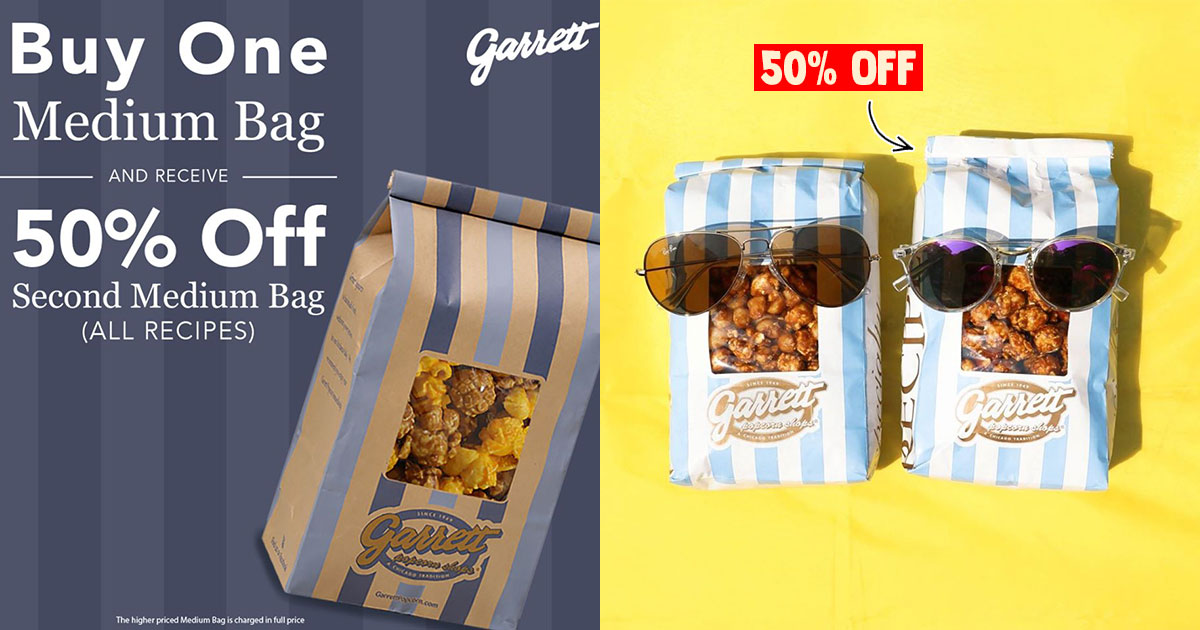 Garrett Popcorn has 2nd Bag for 50% Off Promotion till Jul 31, lets you choose any flavour