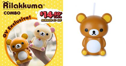 GV Cinemas now selling Rilakkuma Tumblers at $14.50 each, comes with popcorn & drink
