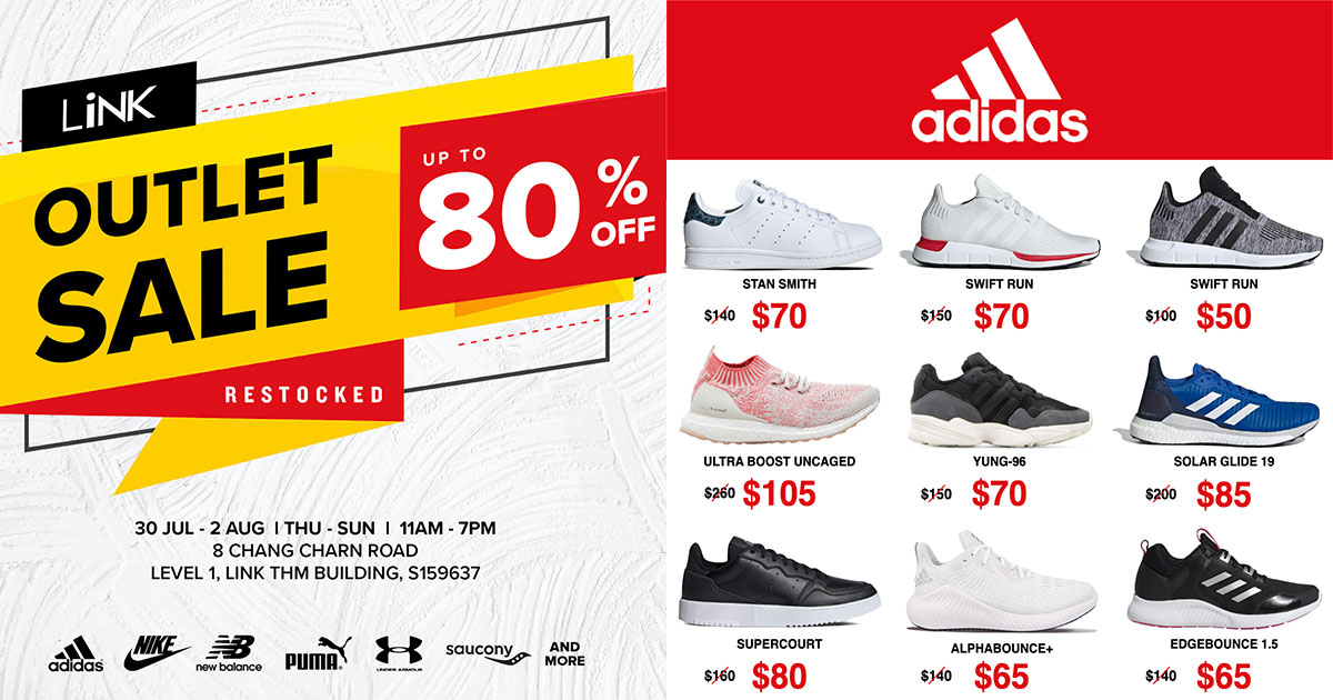 LiNK Outlet Sale in Redhill till Aug 2 has Nike, Adidas, PUMA shoes & more with prices from $35 a pair