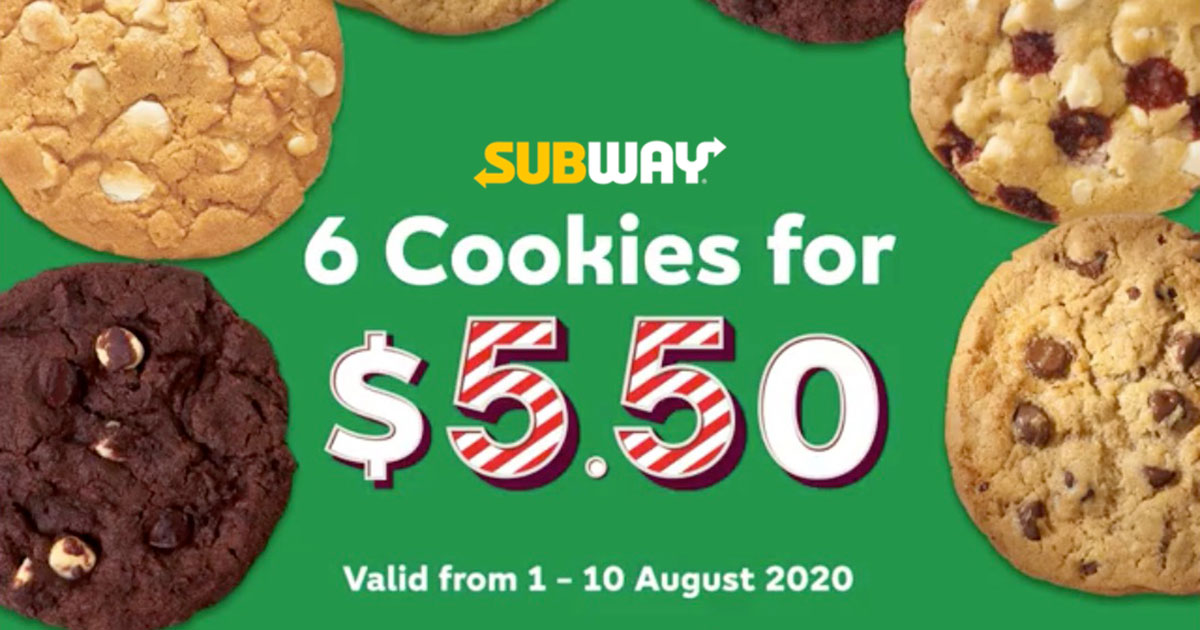 Subway offers 6 Cookies for only $5.50 Promotion till Aug 10 to celebrate S'pore's 55th Birthday