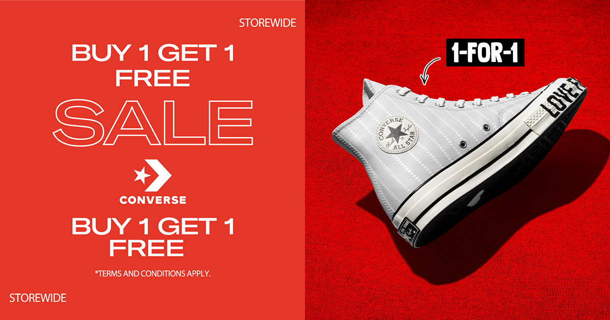 Converse S'pore will have 1-for-1 Storewide Sale on all items including sneakers from Aug 7 – 10