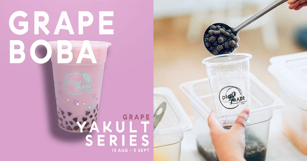 Playmade launching new Yakult Bubble Tea Series till Sept 24, has Original, Grape & Green Apple flavours