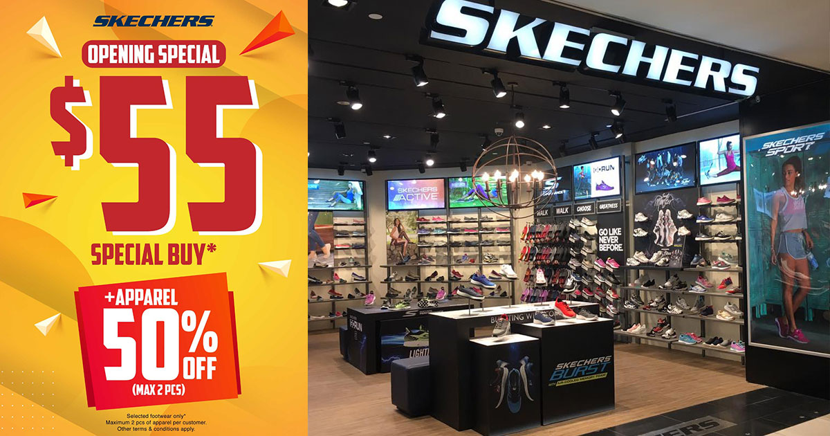 Skechers celebrating new and expanded stores in S'pore with $55 footwear, 50% off apparels & more till Aug 30