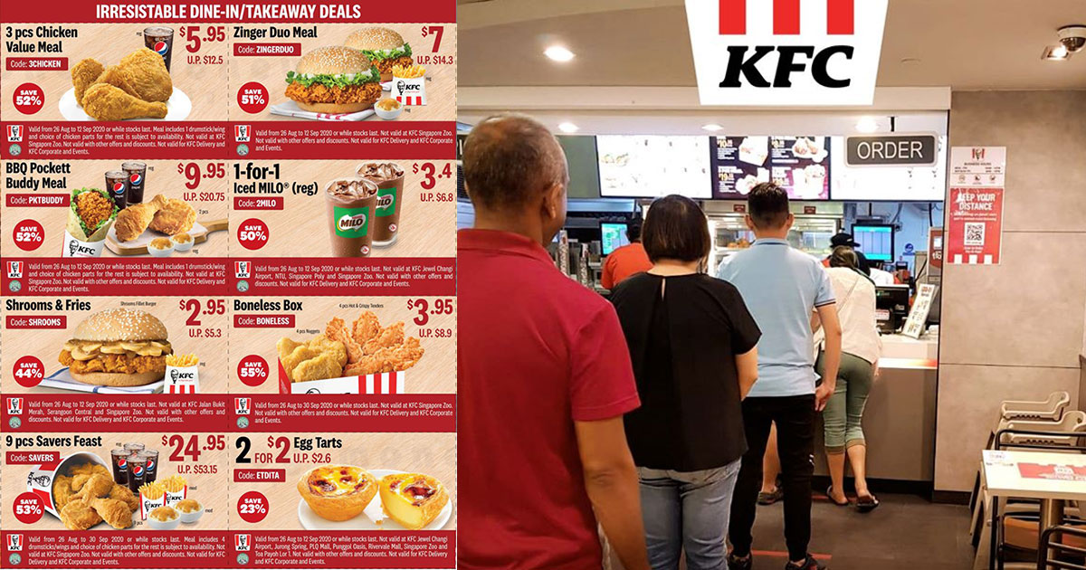 KFC S'pore has 18 Discount & 1-for-1 Coupons up to 68% off for Delivery, Dine-in & Takeaway till Sept 12