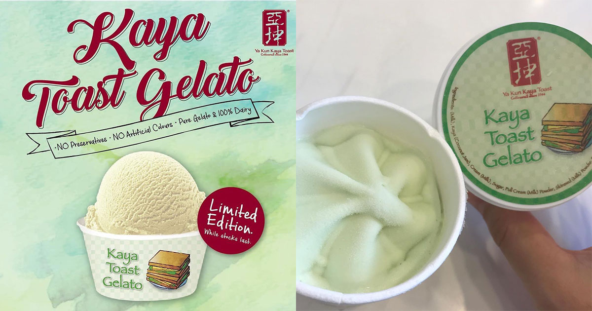 Ya Kun limited edition Kaya Toast Gelato ice cream now available at 2 more outlets in S'pore