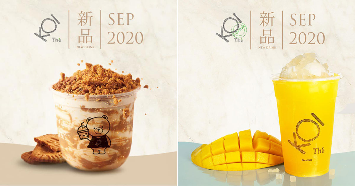 KOI S'pore launching Biscuit Milk Tea and hints new Mango drink with ice cream coming this September