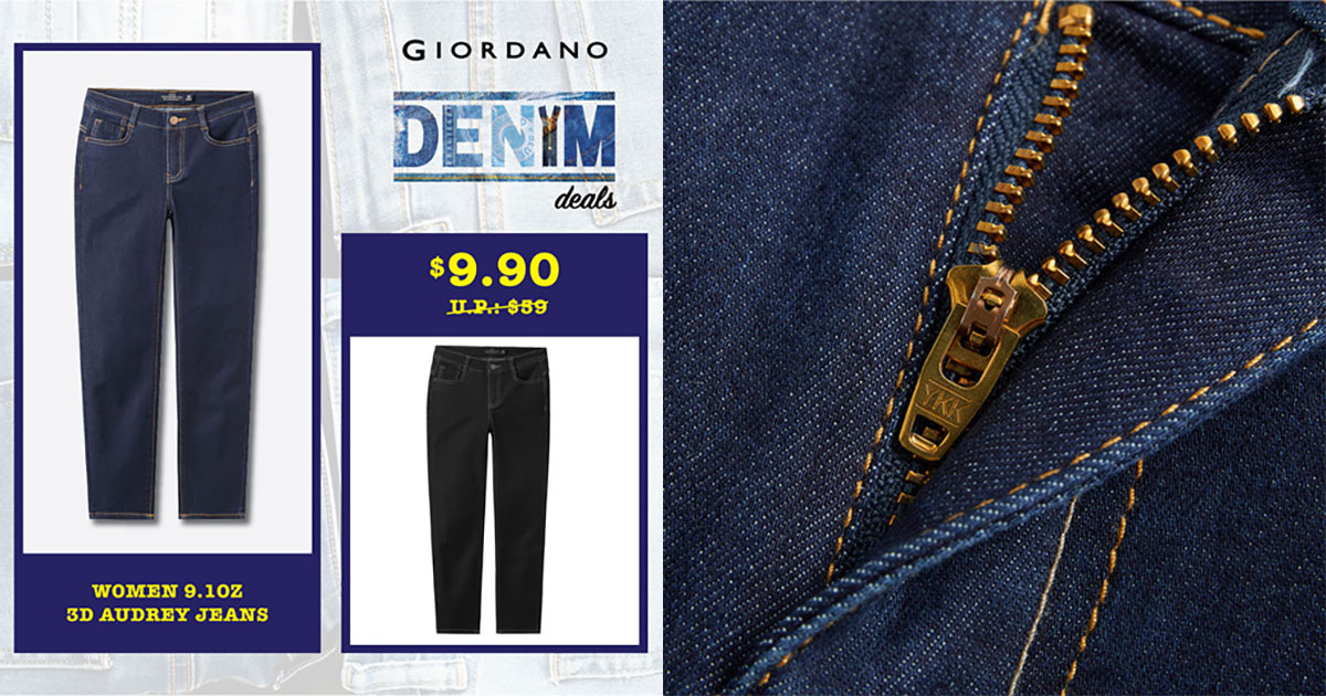Giordano selling Denim Jeans from prices as low as $9.90 online, even uses YKK zippers
