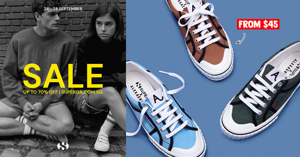Superga S'pore to hold Online Sale with up to 70% off from Sept 24 – 28, has sneakers from S$45