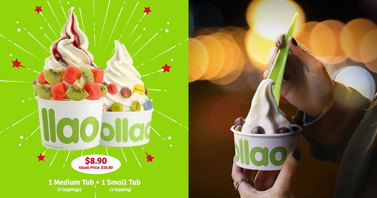 llaollao is offering Medium + Small Tub for just $8.90 till Oct 1, even comes with free toppings