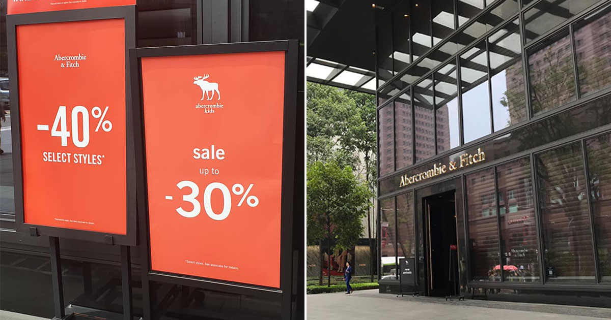 Abercrombie & Fitch S'pore Sale now on with up to 40% off fashionwear in store, has items under S$20