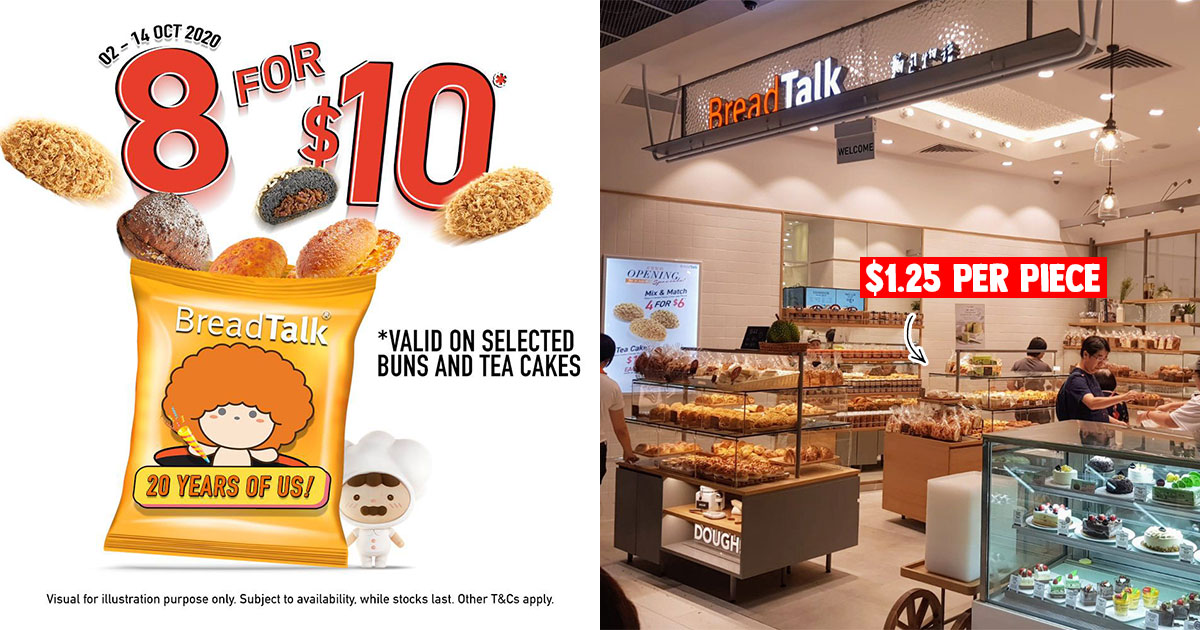 BreadTalk offering 8 Buns for $10 Promotion till Oct 14 means you pay only $1.25 per bun