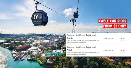 Local S'pore residents can buy Round-trip Cable Car rides in Sentosa Island from just $2 for a limited time