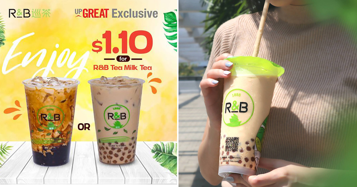 Redeem S$1.10 Milk Tea with Brown Sugar Boba or Golden Pearls at R&B Tea outlets till Nov 30 (U.P. $3.60)