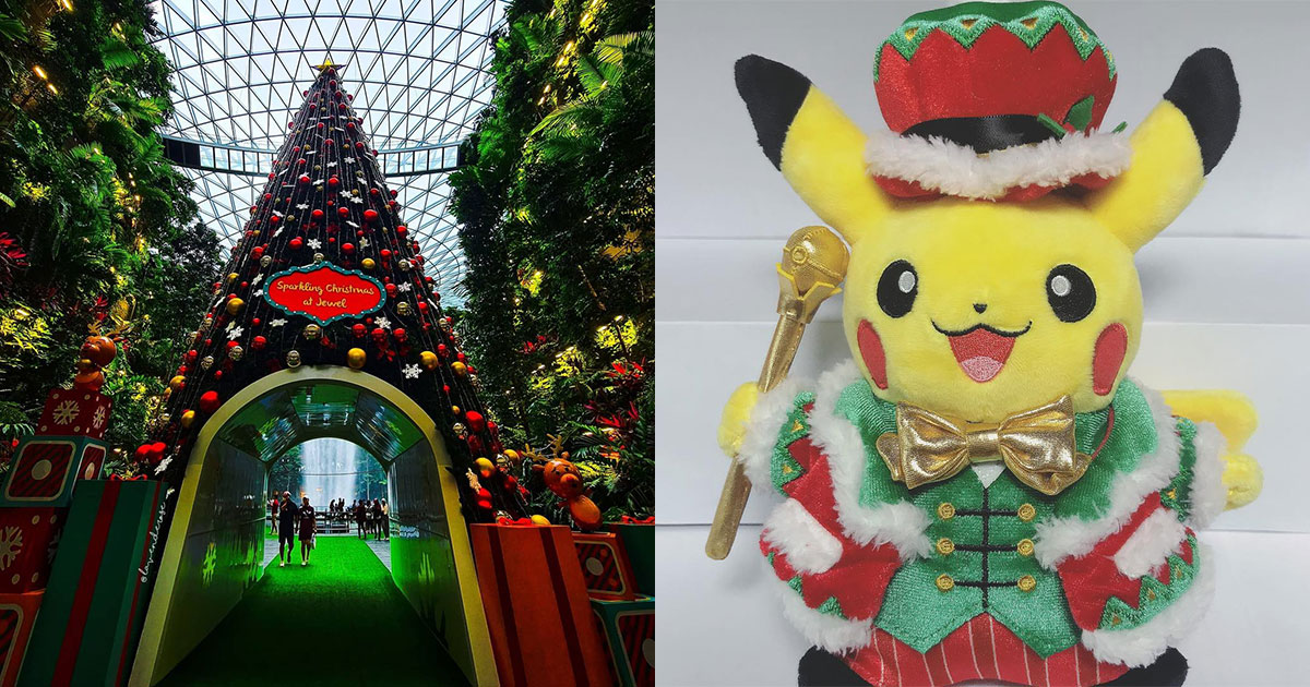 Jewel Changi Airport has 16-metre Christmas Tree, Magical Snowfall & Xmas Pikachu Plushies from Nov 19