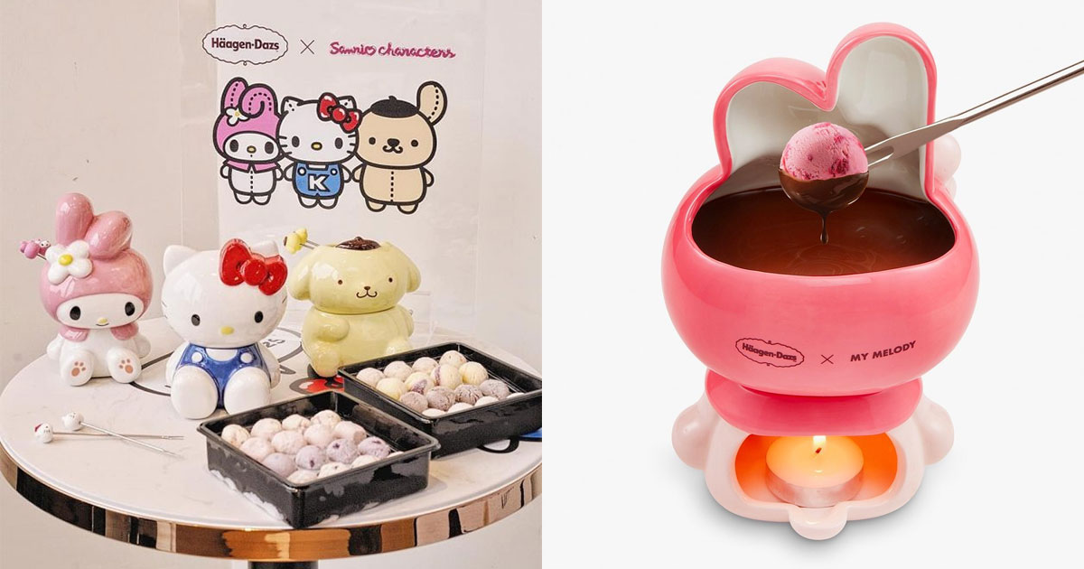 Häagen-Dazs HK x Sanrio Collab has Hello Kitty, My Melody & Pompompurin Ice Cream Fondue Kits and Merch