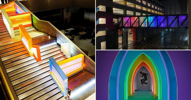 Downtown East has Instagrammable Light Installations including Rainbow Tunnel, Cryptic Pyramid & more