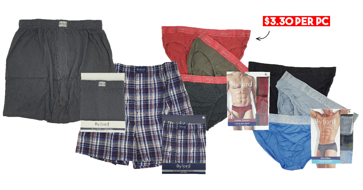 BHG S'pore selling Byford Underwear at up to 50% + extra 10% OFF, has Men's Briefs, Boxers & more from S$3.30