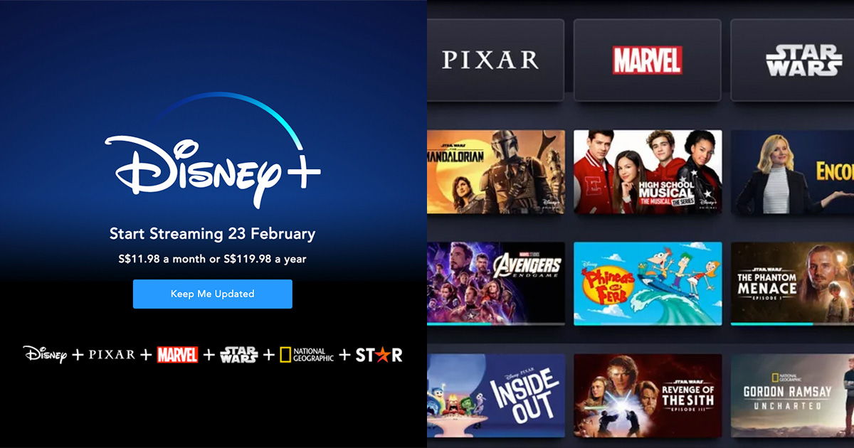 Disney+ will begin streaming in S'pore from Feb 23, priced at S$11.98 per month
